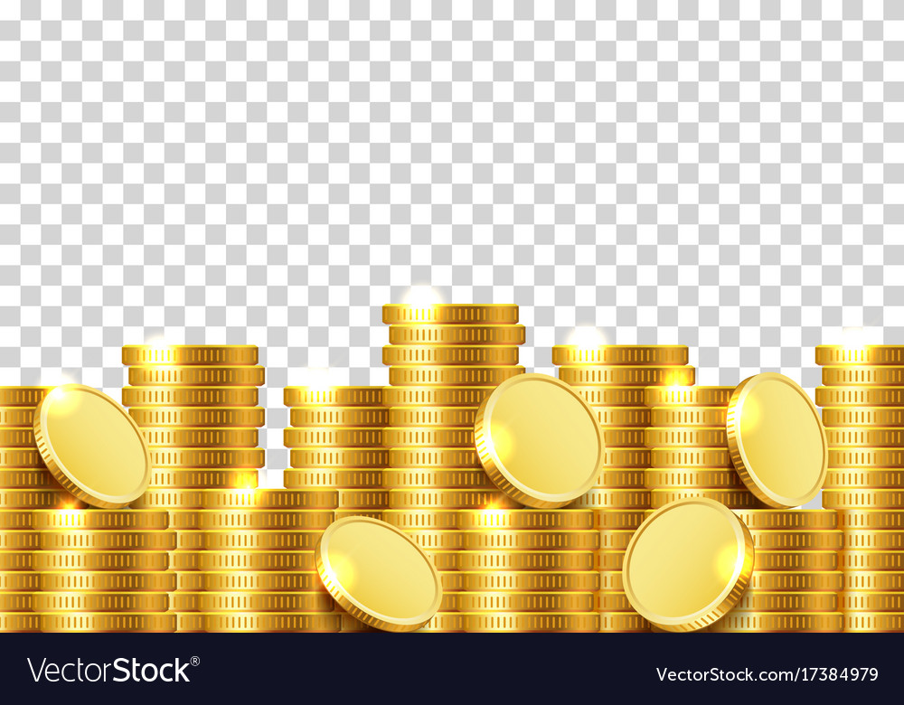 A Lot Of Coins On Transparent Background Vector Image