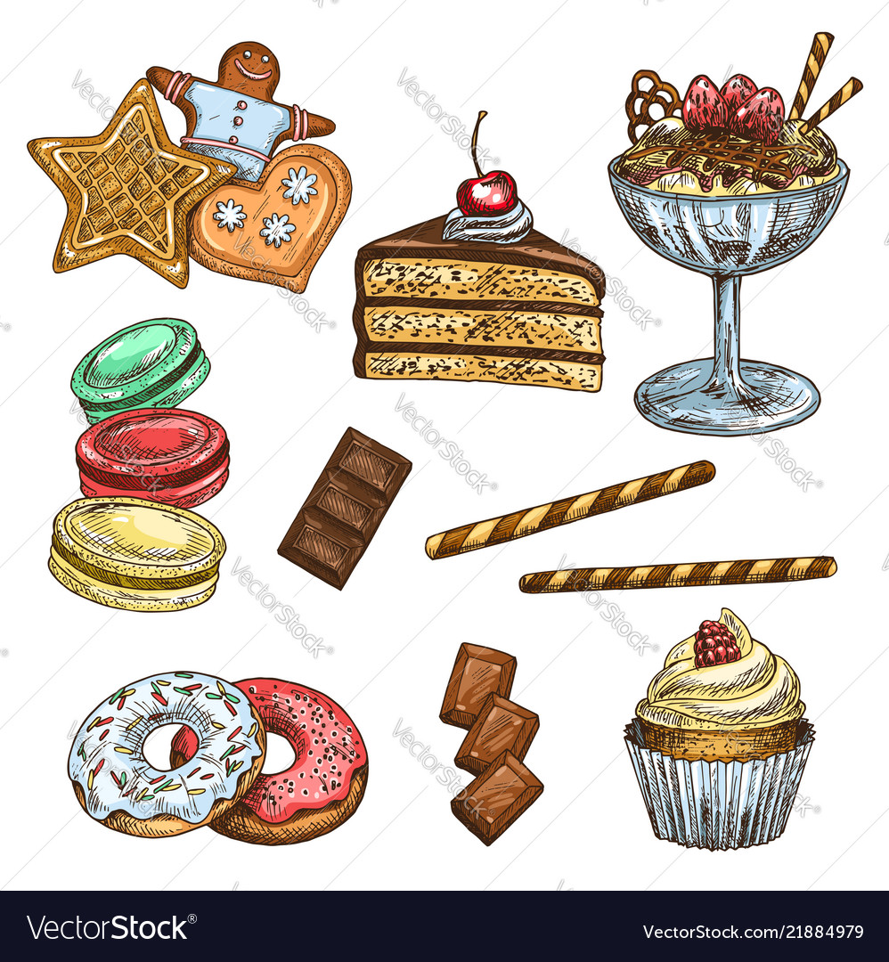 Cake cupcake and ice cream dessert sketch