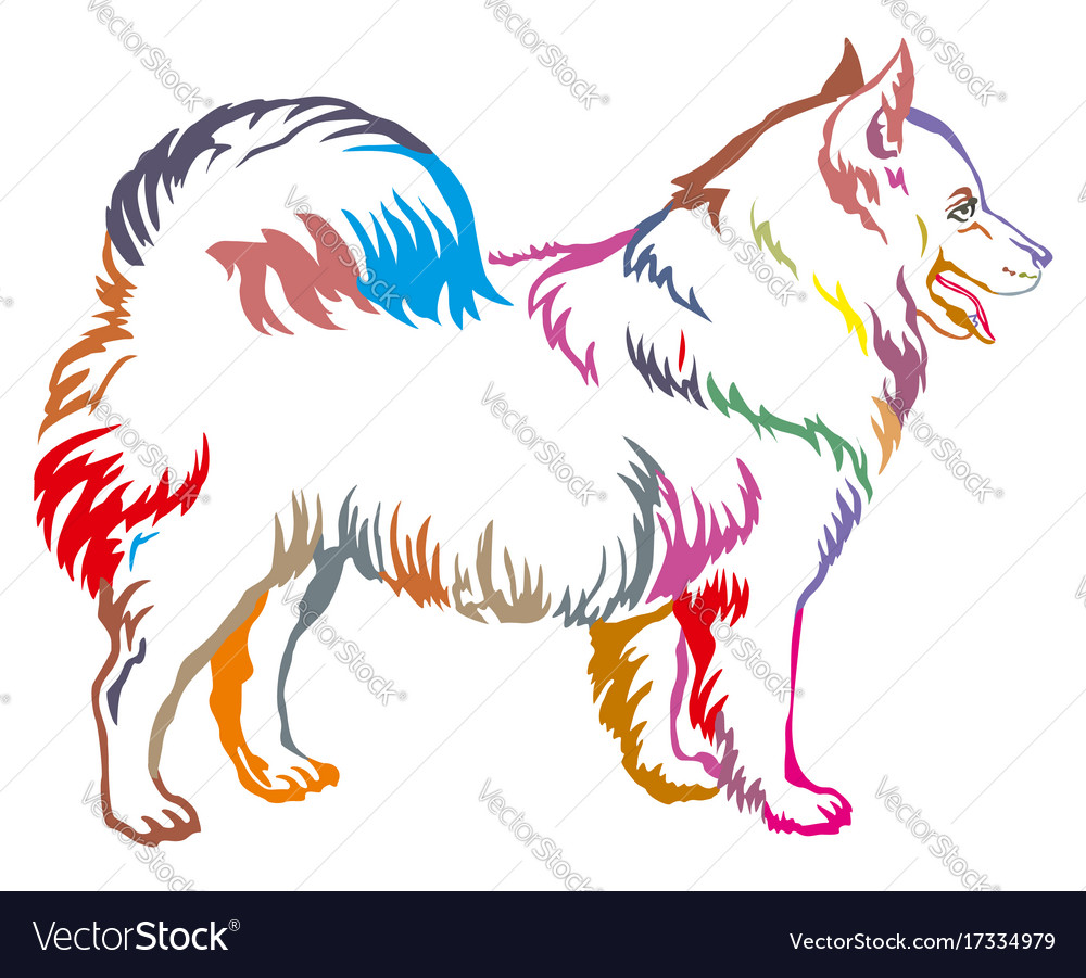 Colorful decorative standing portrait of dog