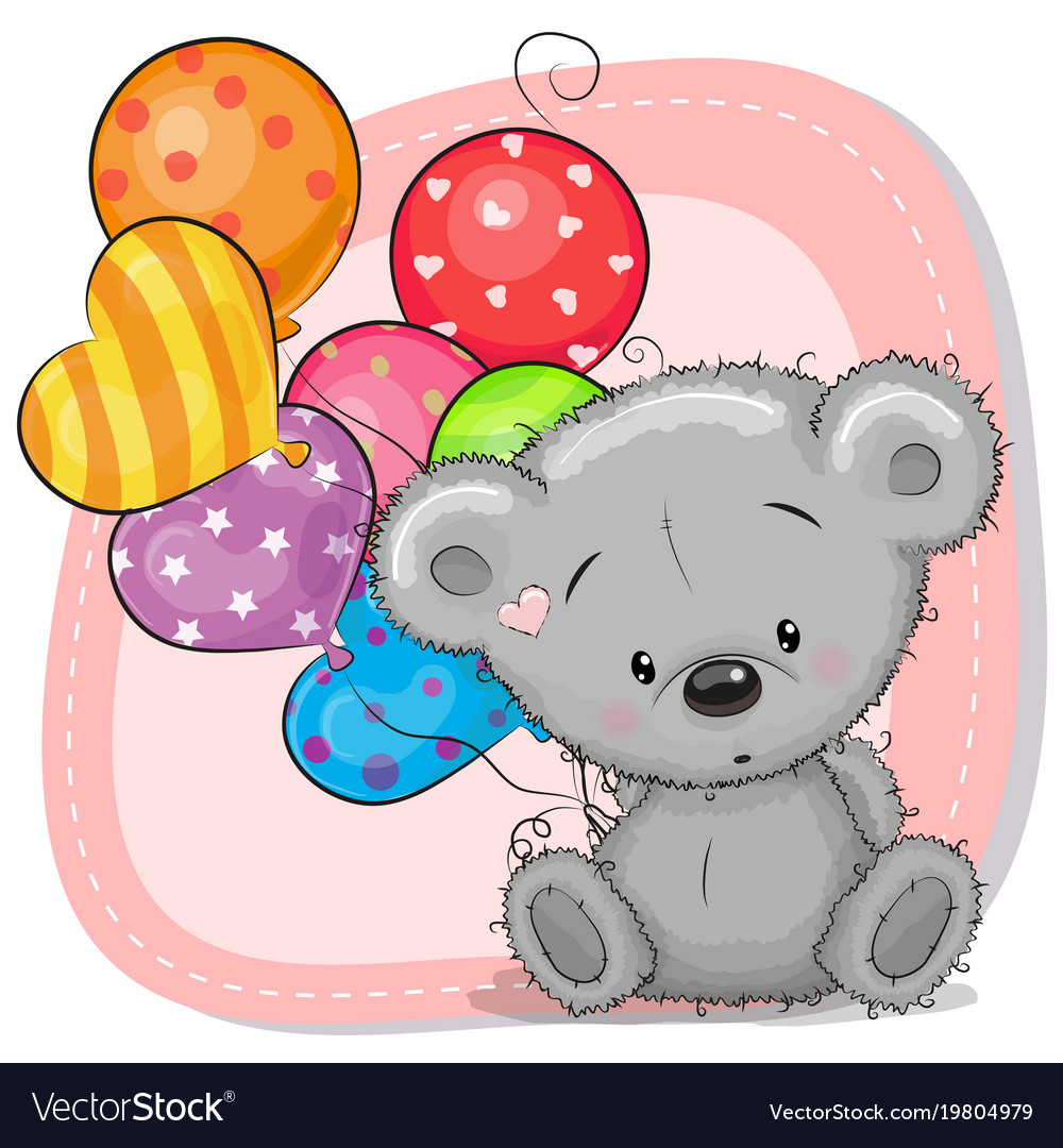 cute cartoon teddy bear with balloons royalty free vector