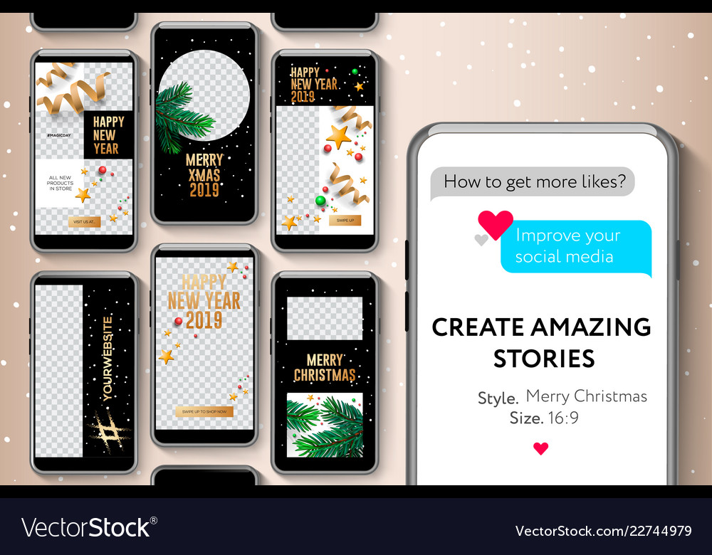 Editable stories templates merry christmas and