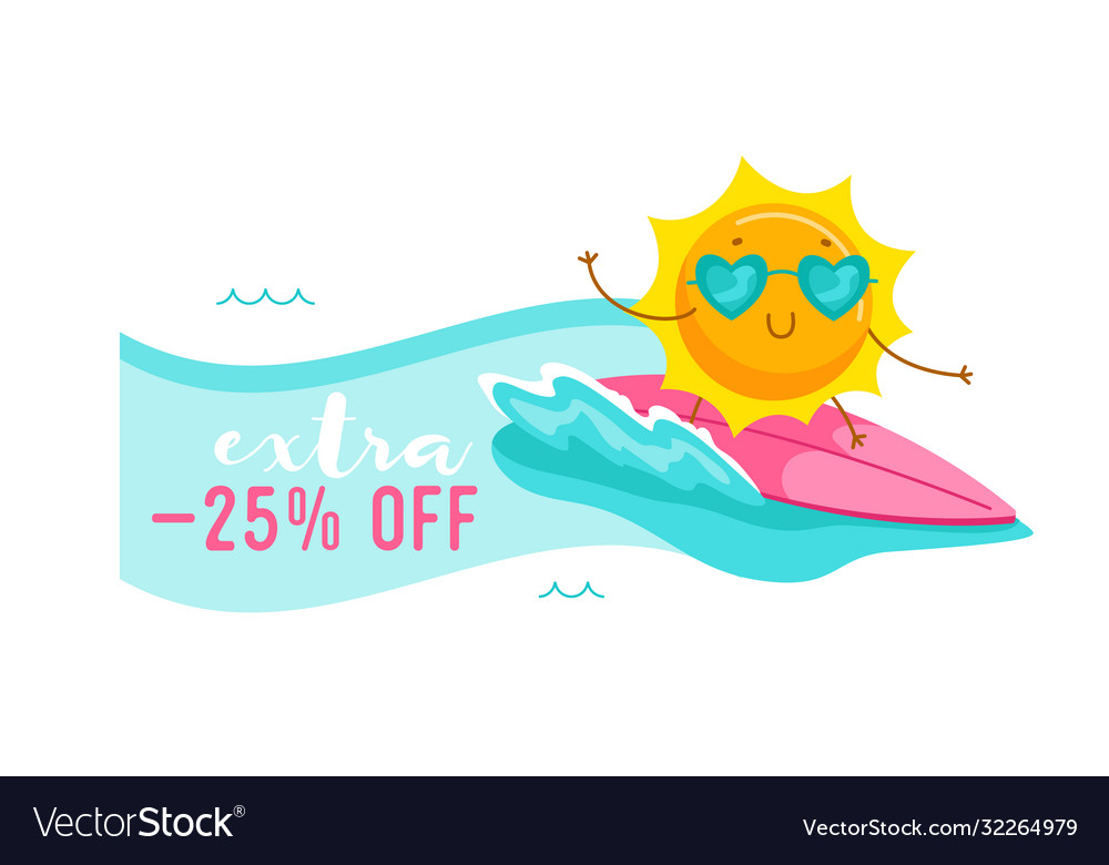 Extra off banner with cute cartoon sun character
