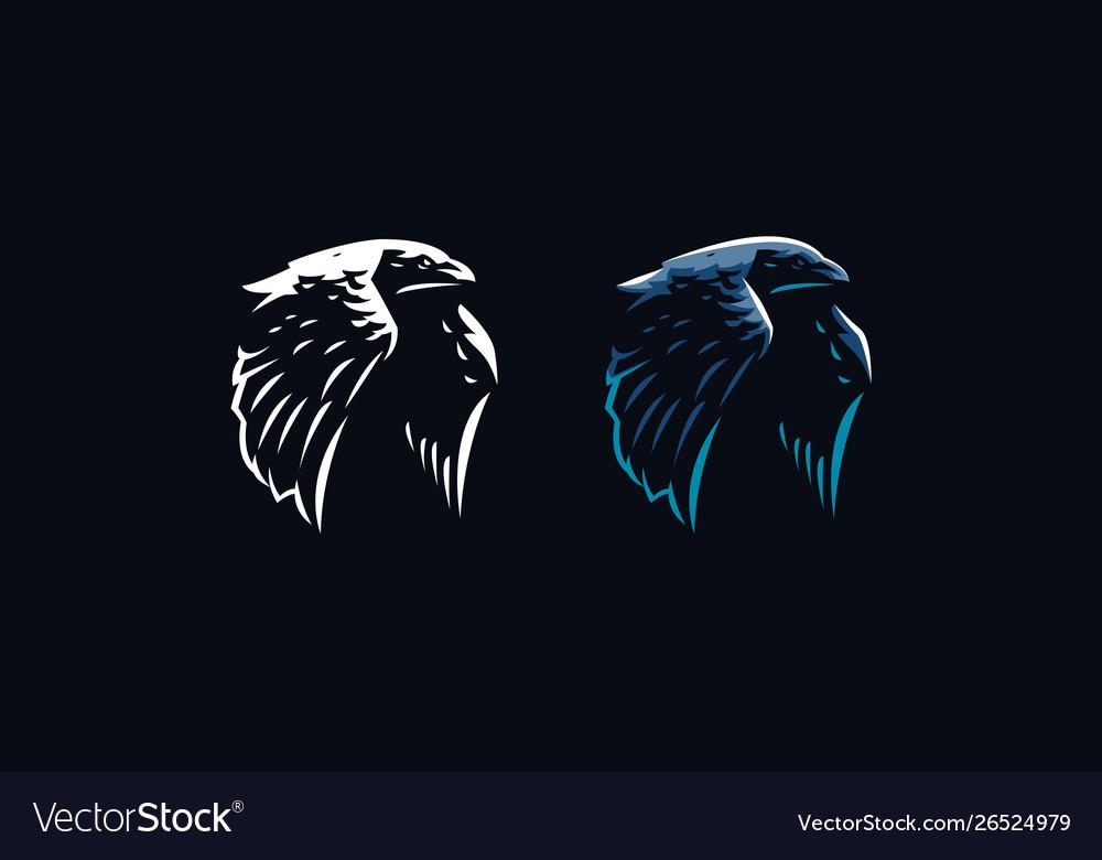 Flying raven in minimalist style