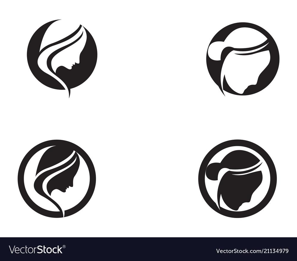 Hair woman head logo and symbols icons