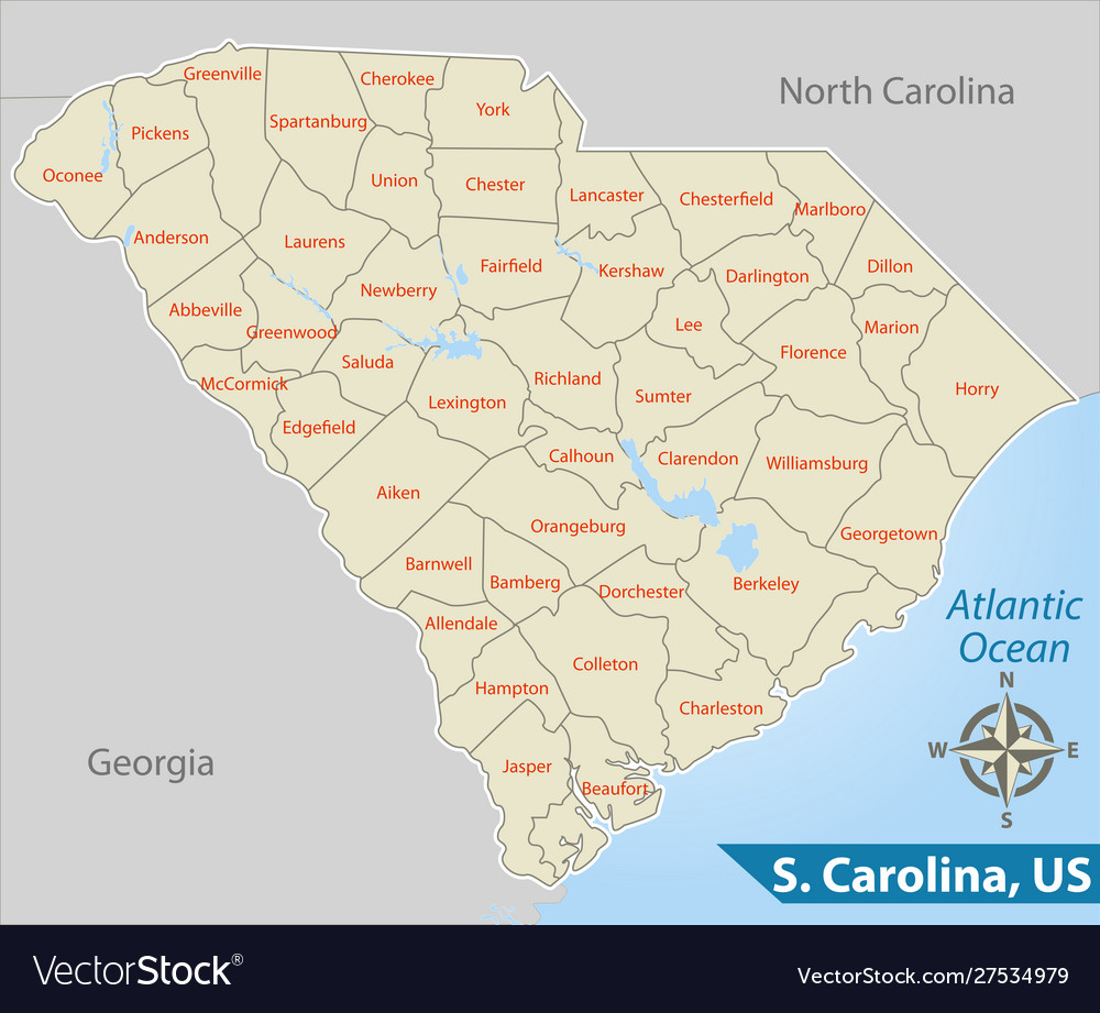 Map state south carolina usa