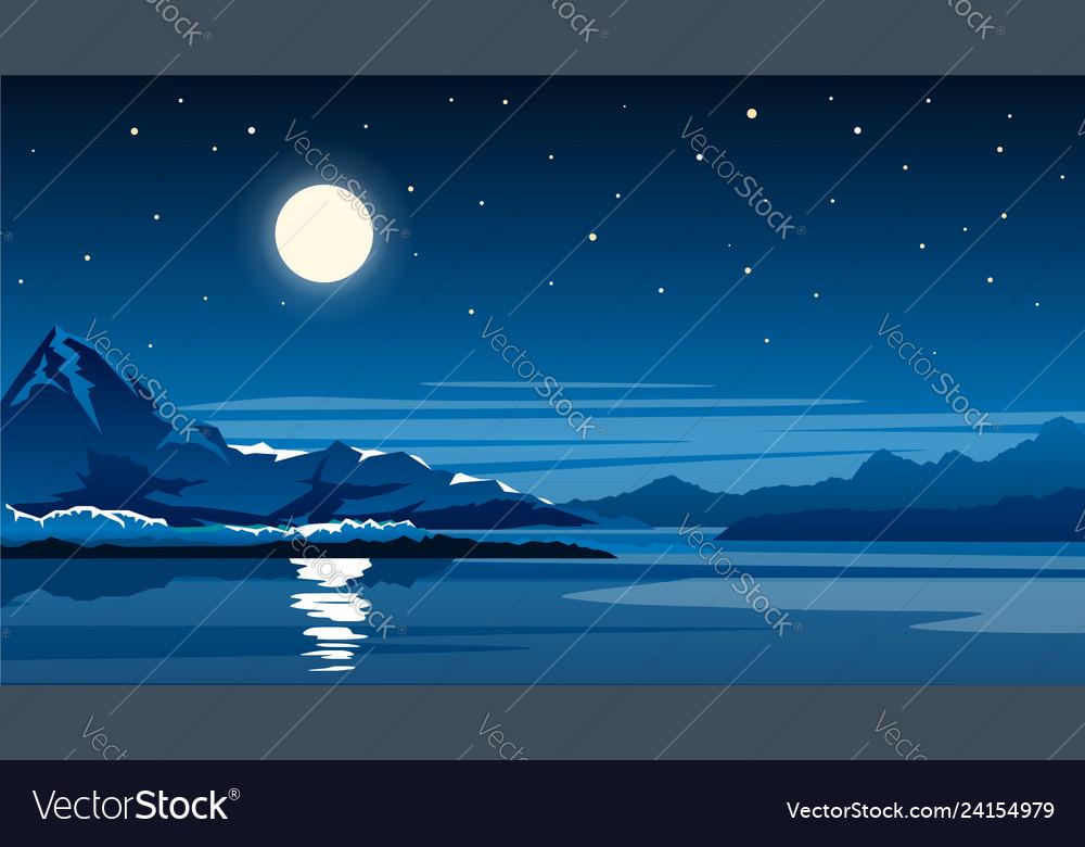 Night mountain lake with full moon