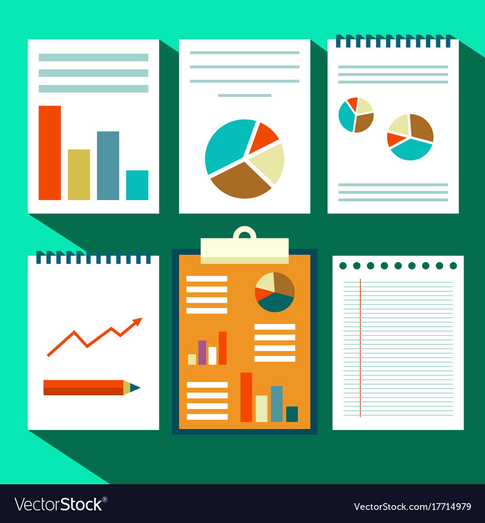 Paperwork design flat design retro paper sheets vector image