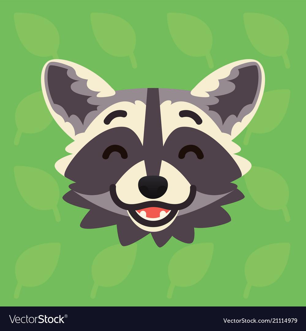 Racoon emotional head of cute