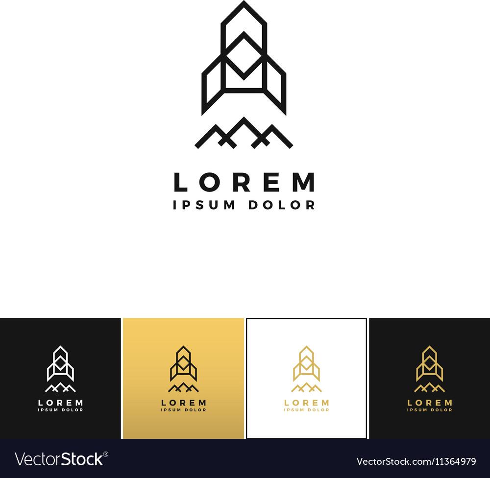 Rocket logo or triangular line company icon