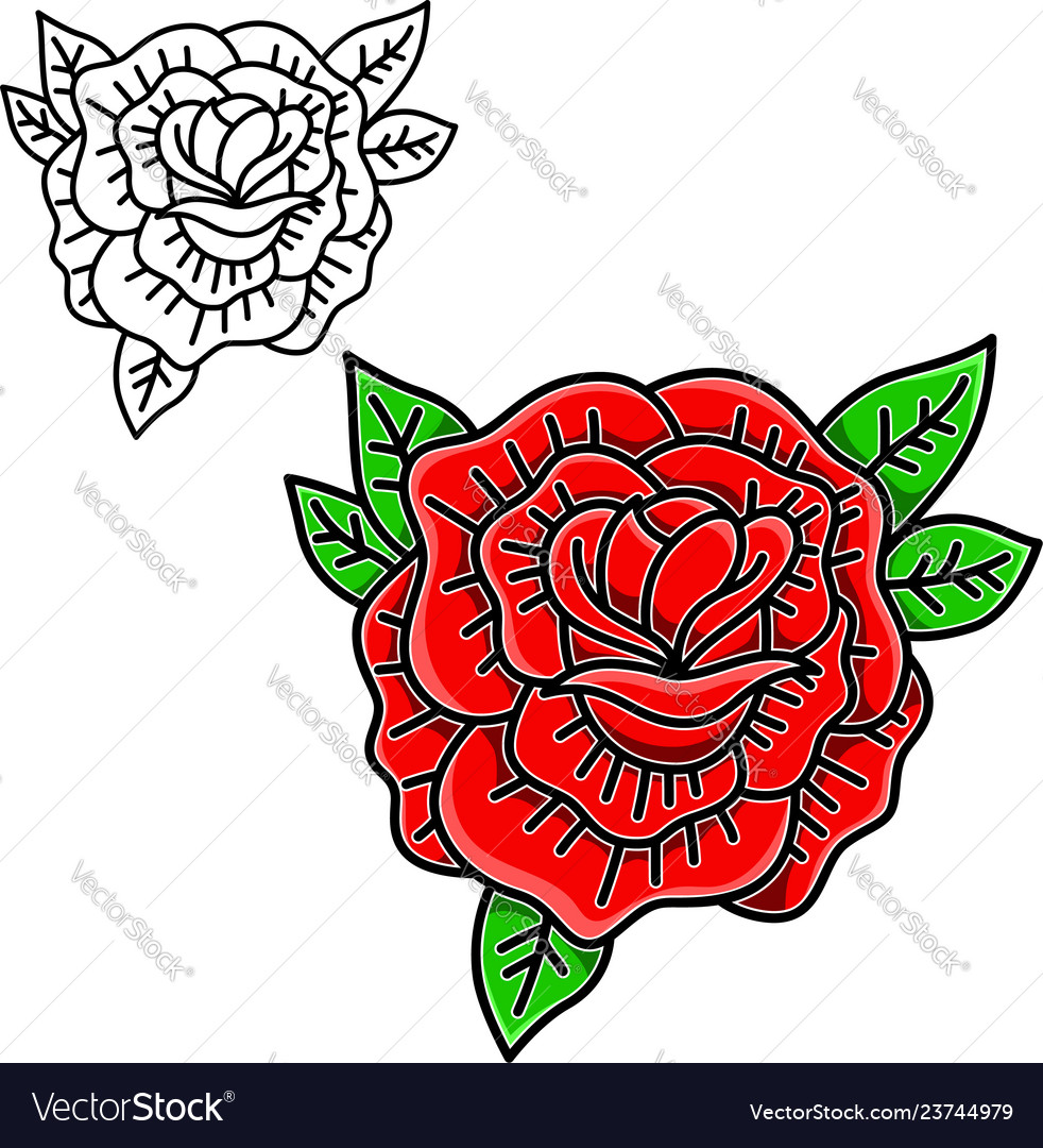 Rose in tattoo style isolated on white background