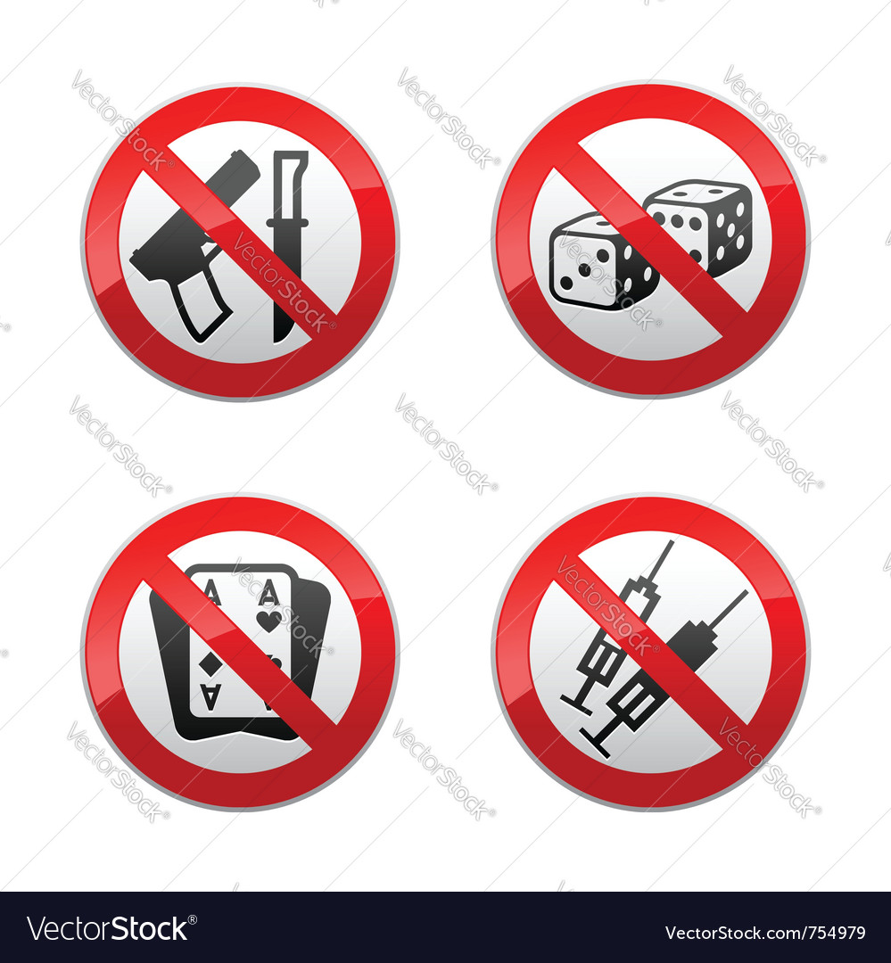Set prohibited signs - gaming vector image