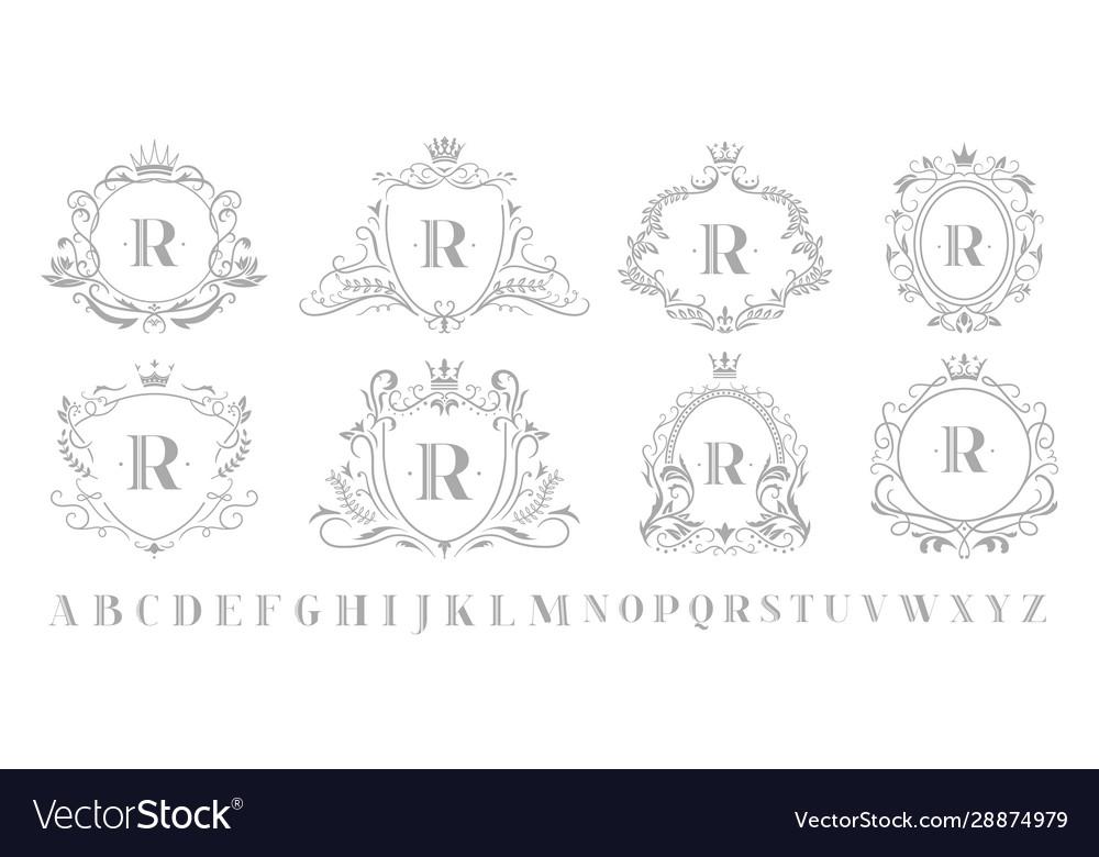 Vintage monogram emblem retro art ornamental