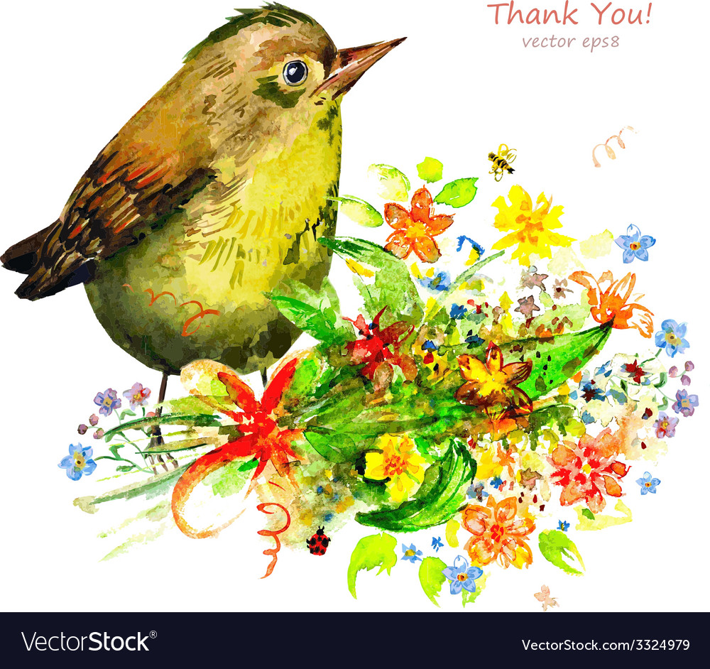 Watercolor painting cute bird with flowers