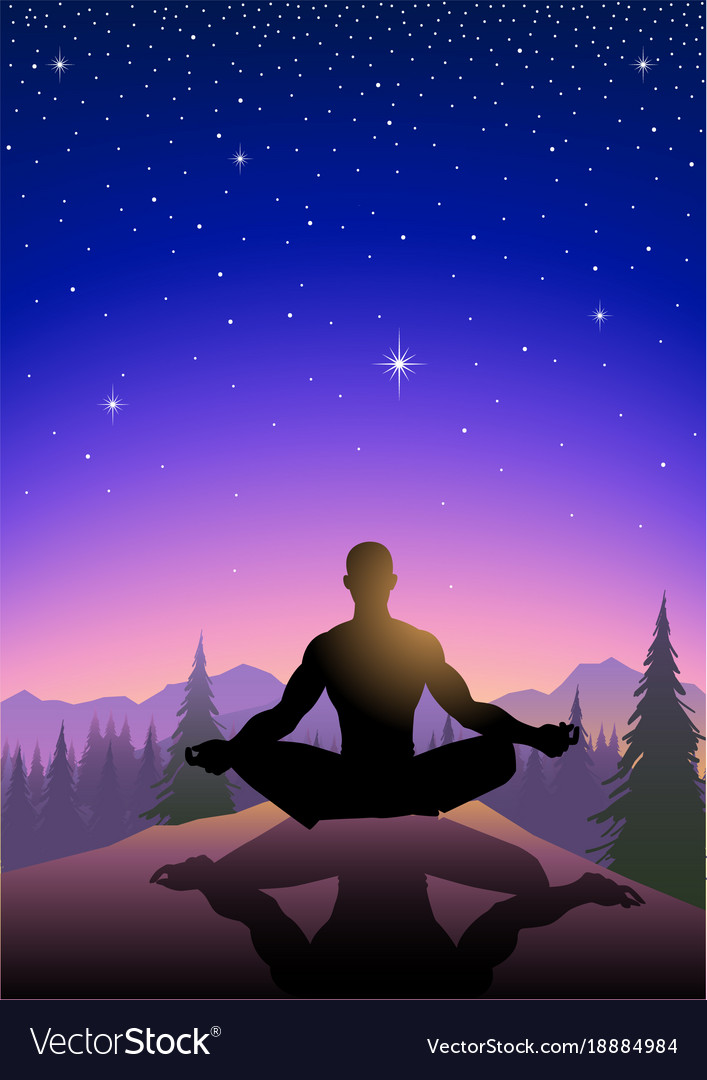 A man meditating on mountain