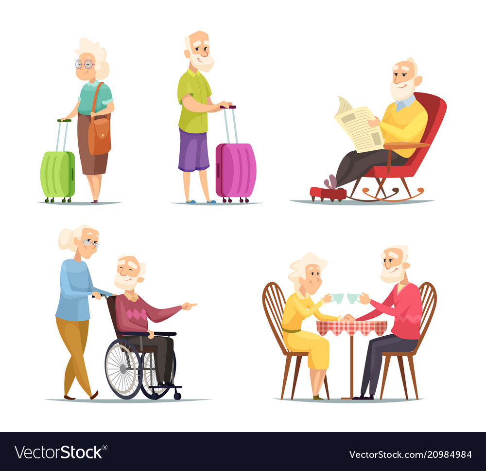 Characters set of elderly peoples funny