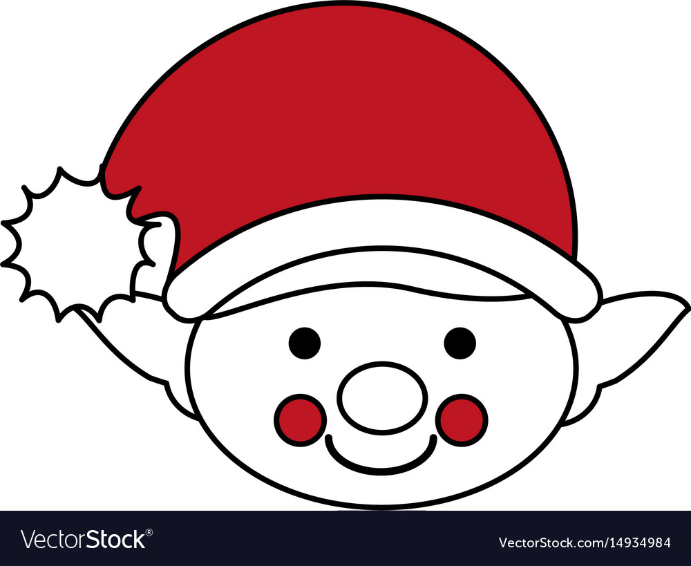 Color silhouette image of face boy of christmas vector image