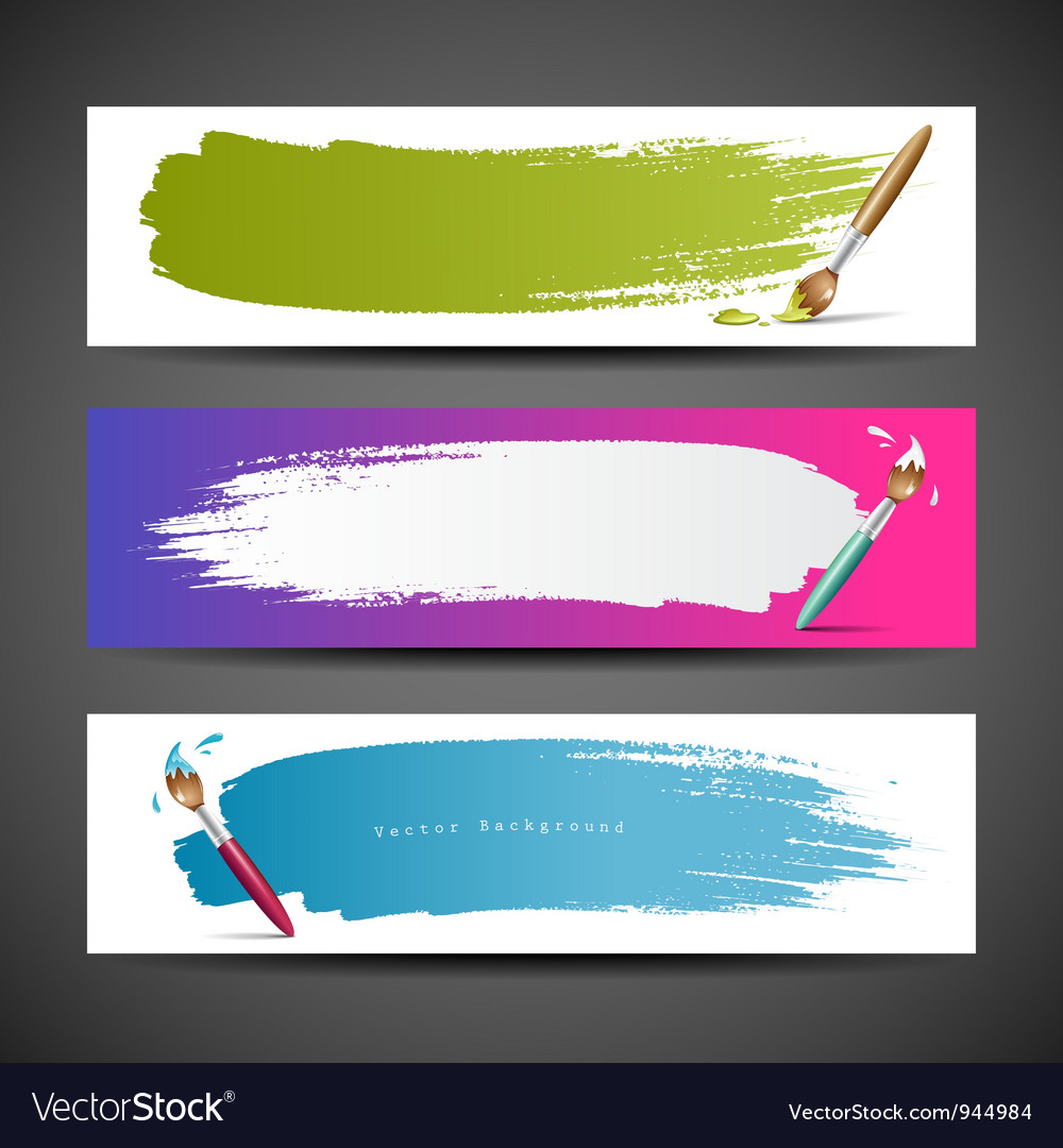Colorful Paint brush banners background set