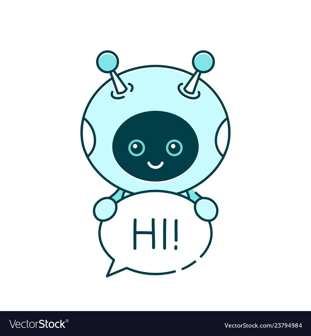 Cute smiling robotchat bot say