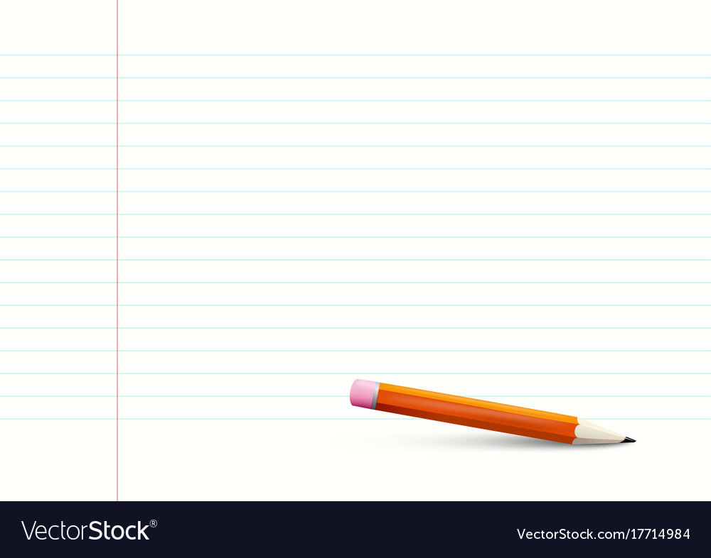Empty lined notebook paper a4 size with pencil vector image