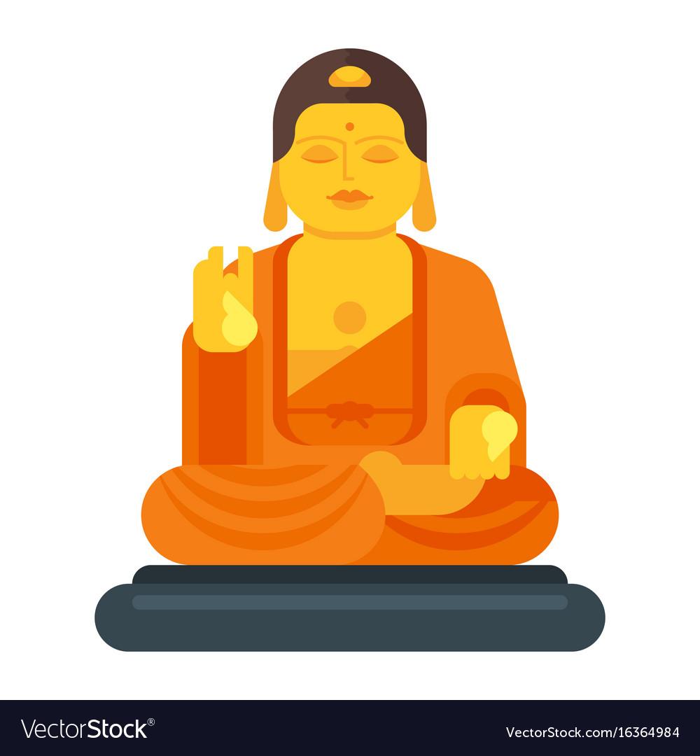 flat style of buddha royalty free vector image rh vectorstock com buddha vector art buddha vector art free