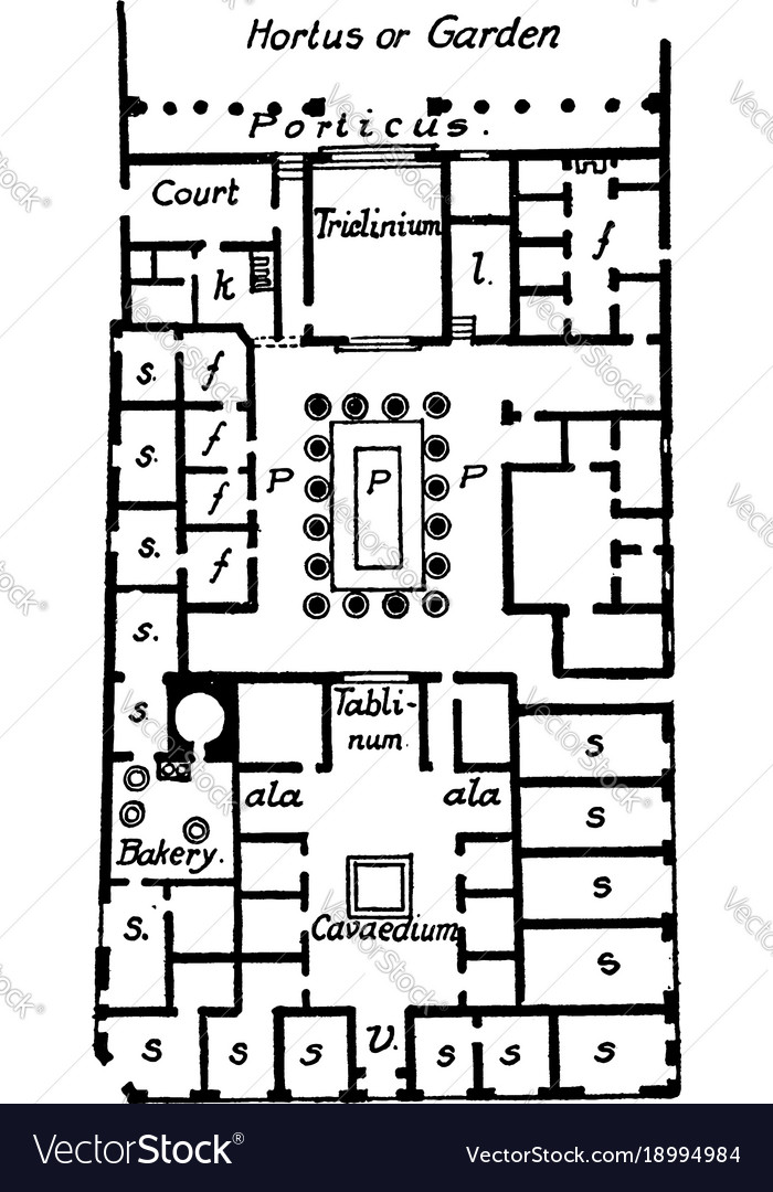 House of pansa pompeii plan vintage engraving