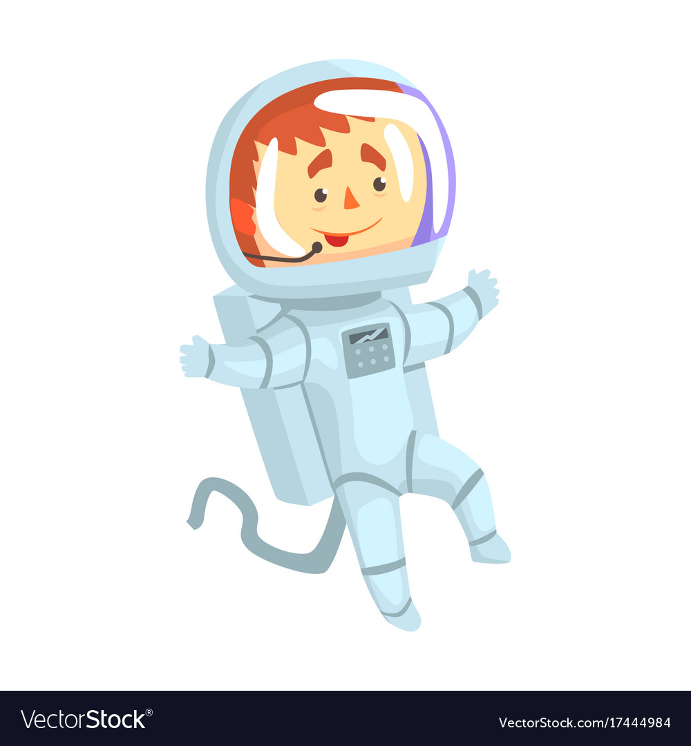 Male cosmonaut or astronaut in a white space suit