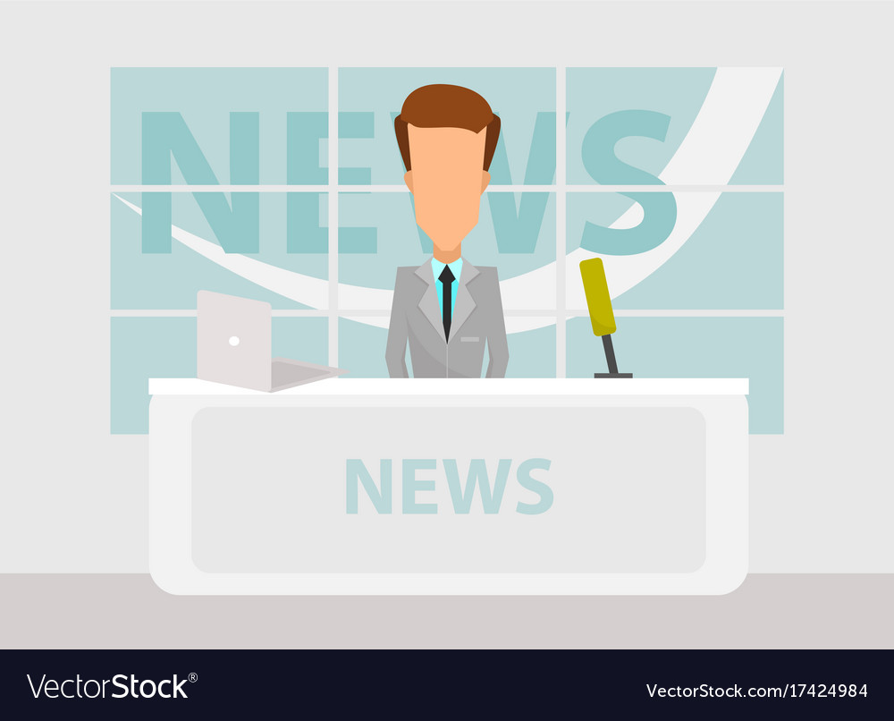 News anchorman in breaking news and tv layout