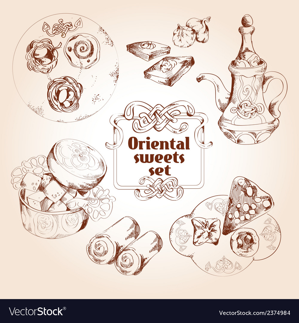 Oriental sweets sketch set Royalty Free Vector Image