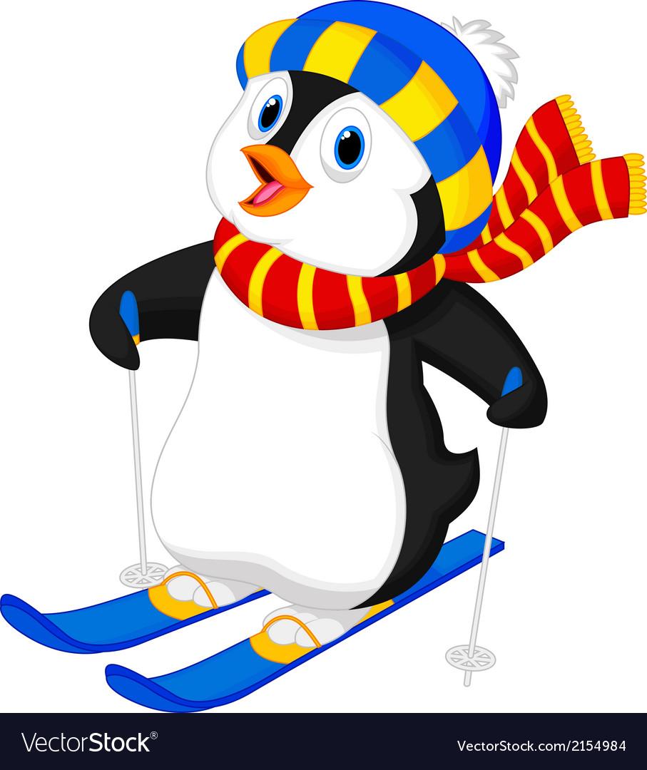 Penguin cartoon skiing vector image