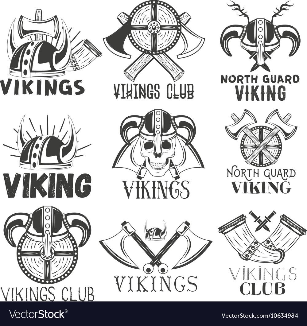 Set of vikings labels in vintage style vector image