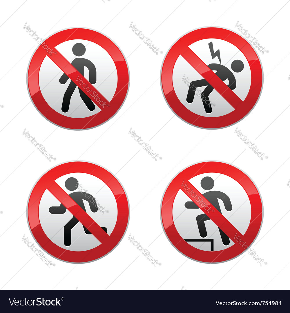 Set prohibited signs - man vector image