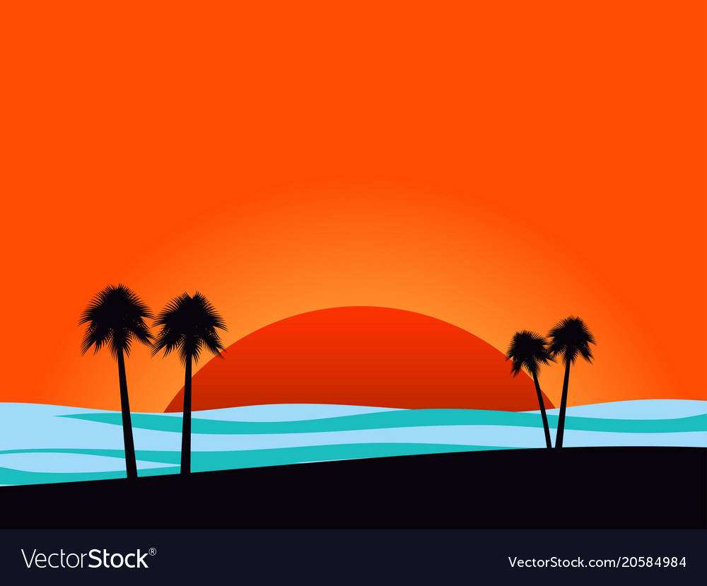 Silhouettes of palm trees on sunset background