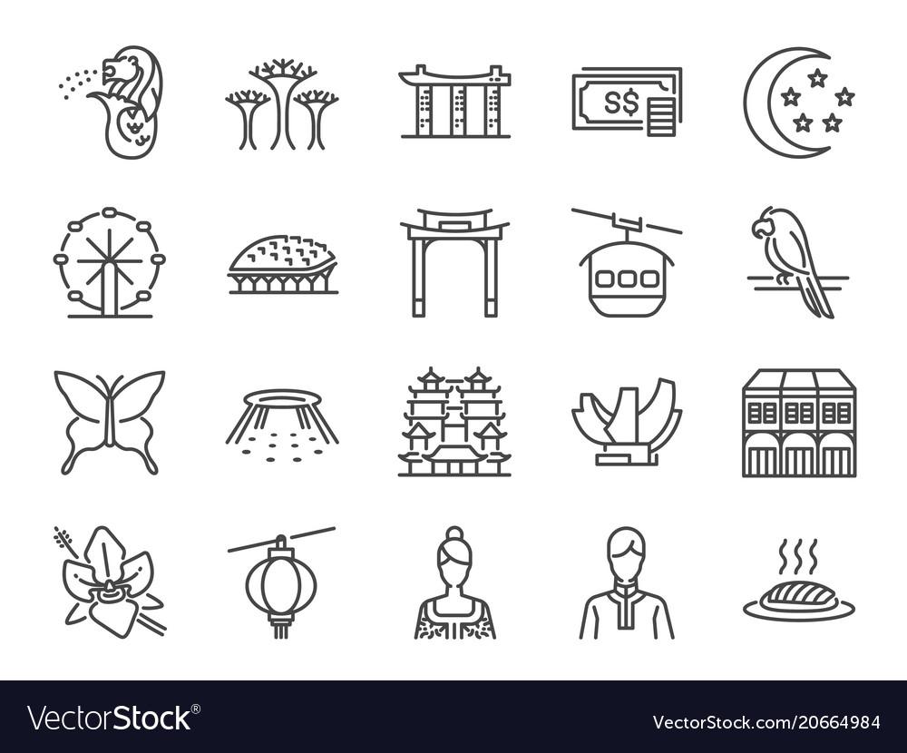 Singapore trip icon set vector image