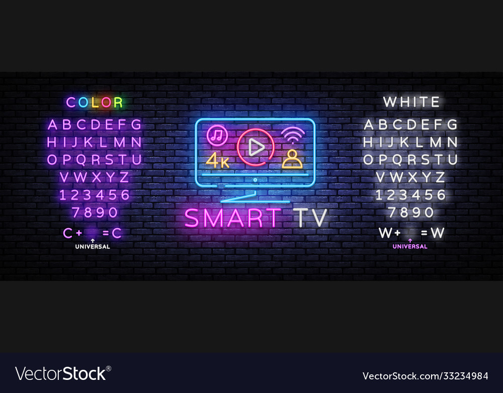 Smart tv neon sign design template