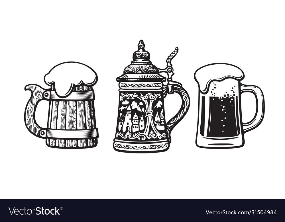 Vintage set beer mugs old wooden mug