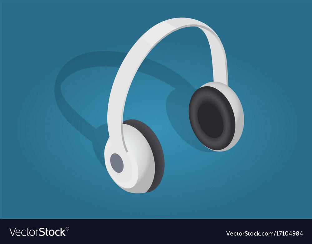 White cartoon headphones flat and shadow theme