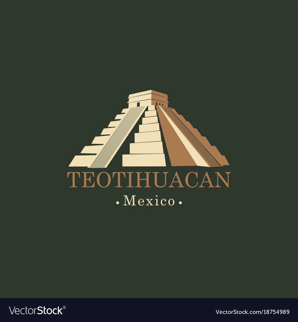Banner with mesoamerican pyramids in mexico