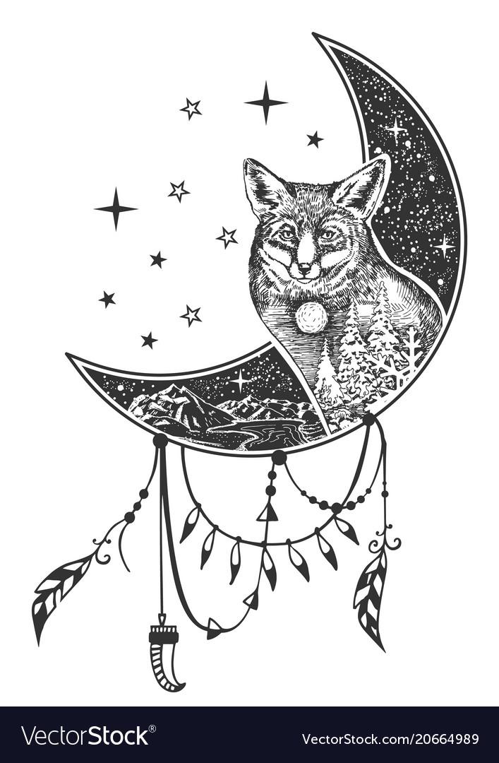 Boho fox tattoo or t-shirt print design