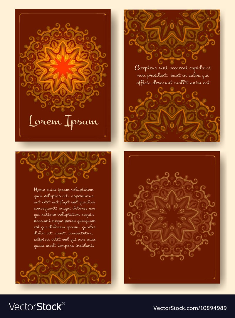 Brochure flyers template with eastern motifs and