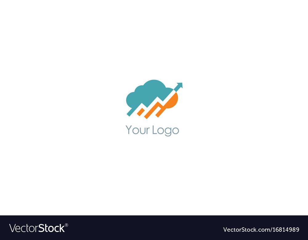 Cloud upload arrow logo vector image