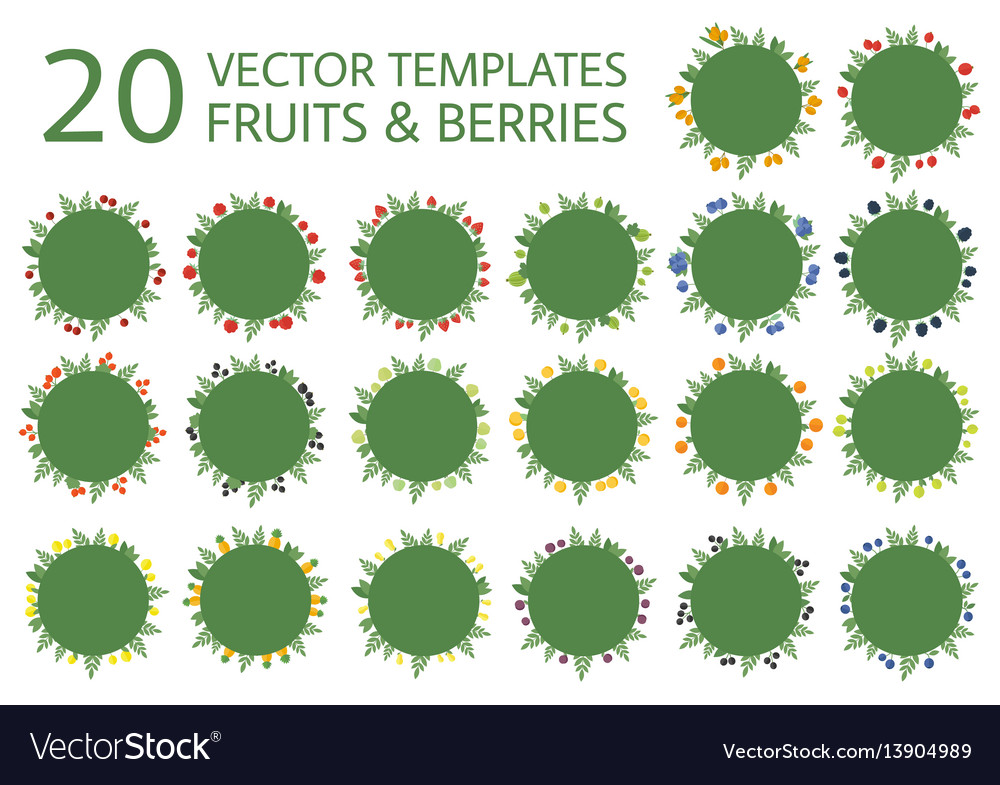 Collection banners with fruits in