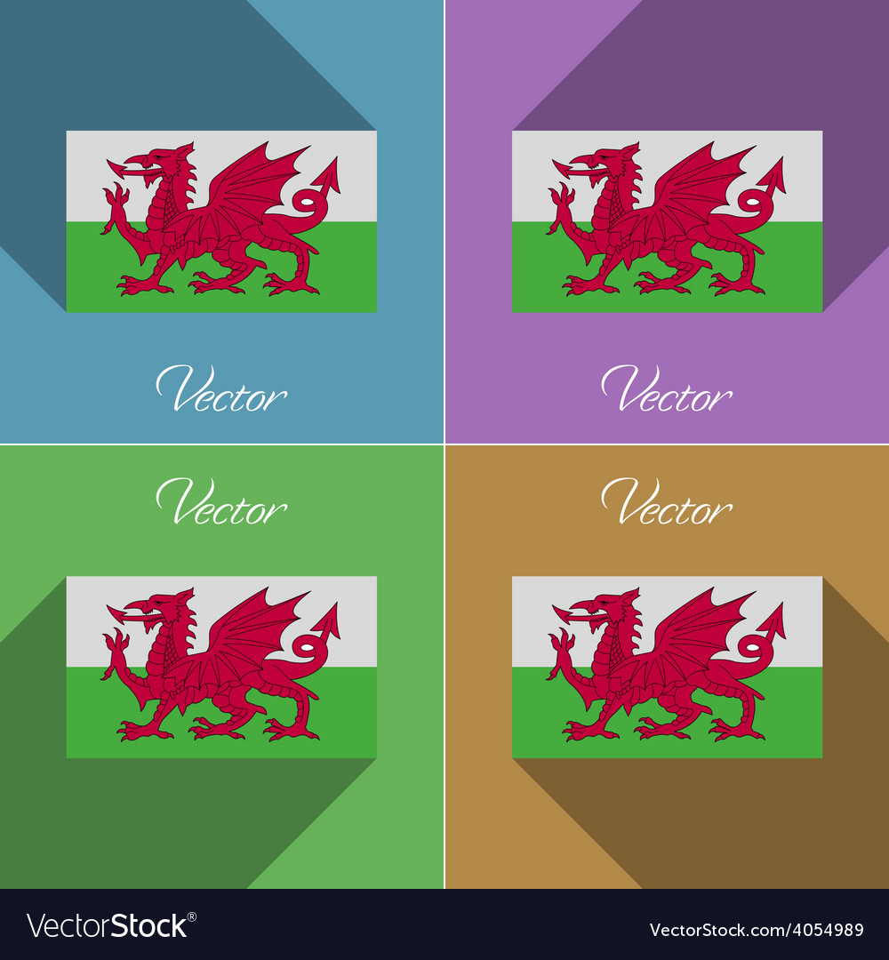 Flags Wales Set of colors flat design and long