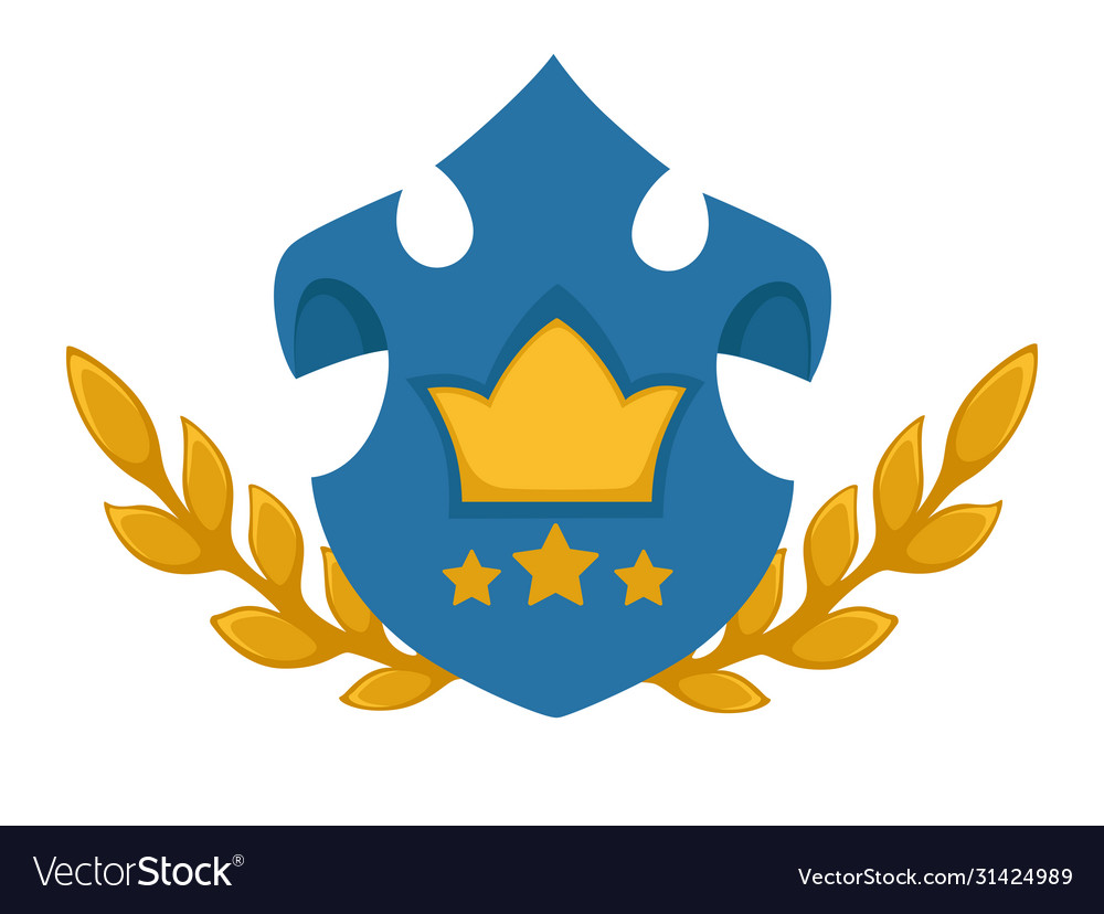 Heraldic shield with stars rate and golden crown