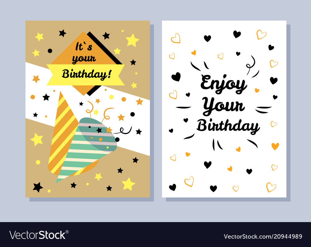 Its your birthday postcards vector image
