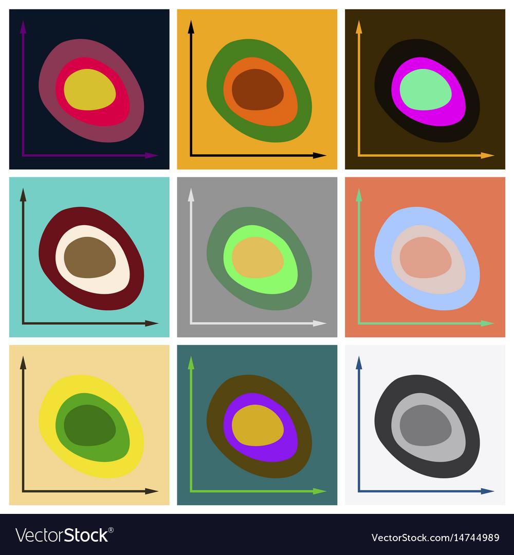 Set of flat icons on stylish background graph