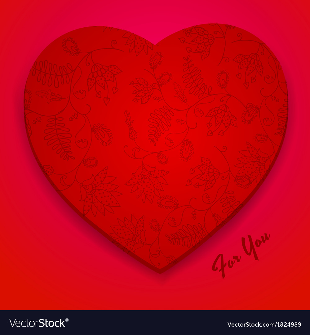 Valentines Day Card Design with Flower Pattern vector image