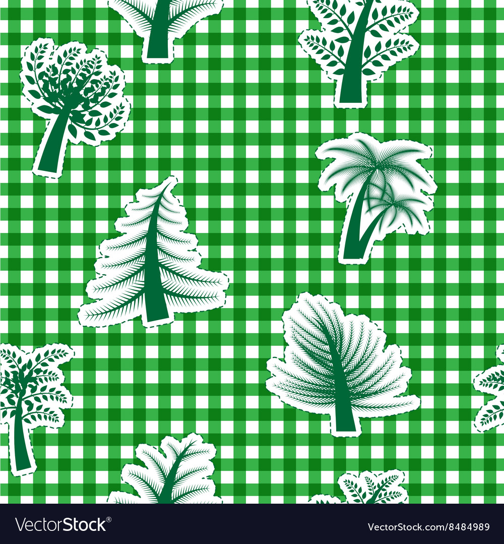 Vichy seamless background with trees vector image