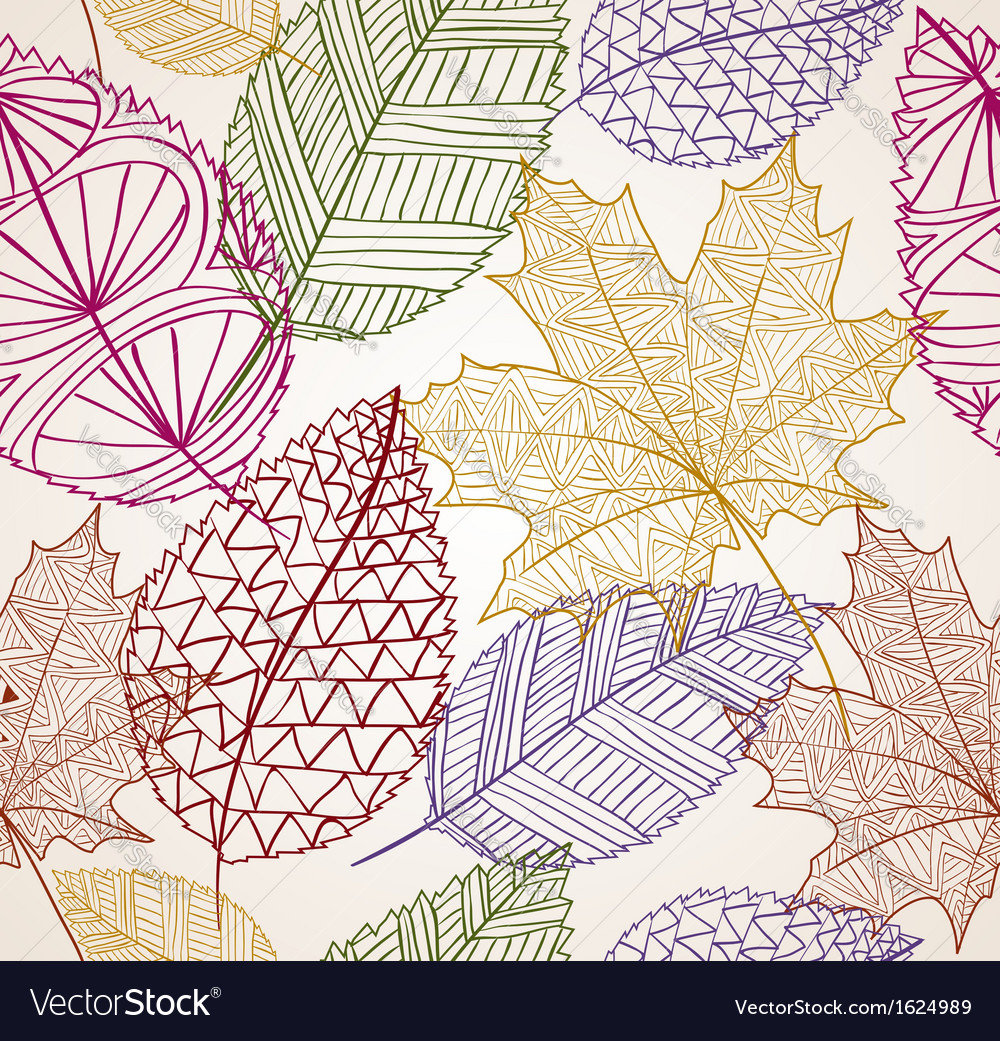 Vintage autumn leaves seamless pattern background