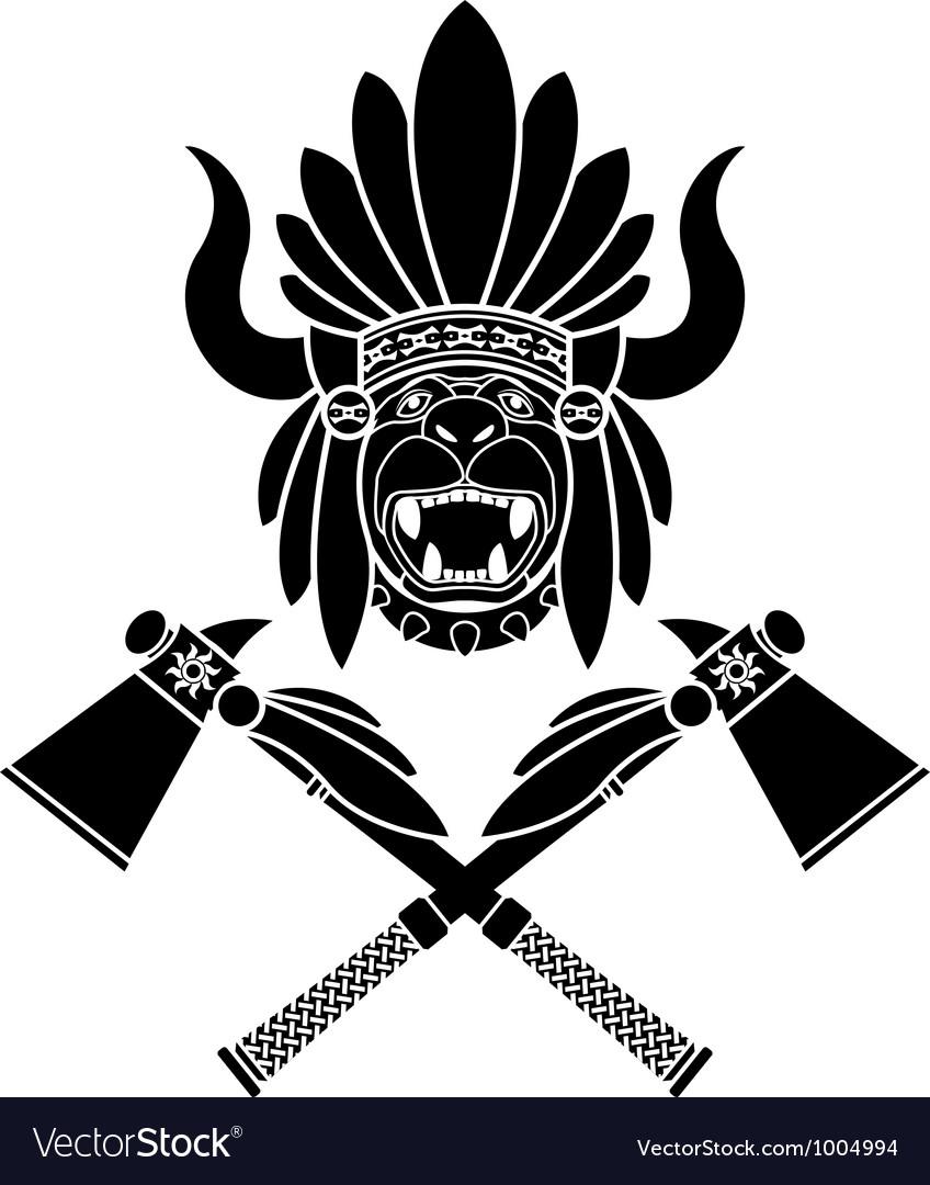 American Indian headdress and tomahawks vector image