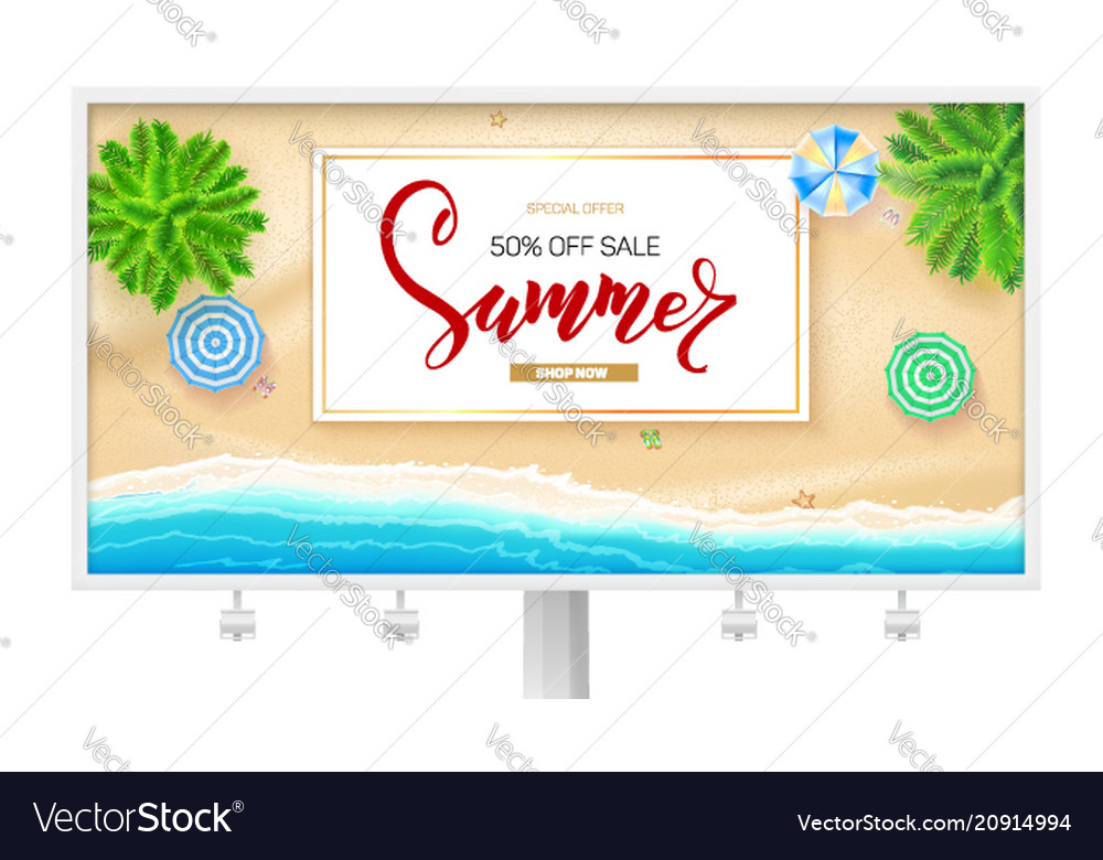 Billboard with summer beach seashore poster for